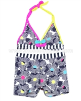 Deux par Deux Floral Print Boy-shorts Swimsuit Seashells on the Seashore