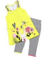 Deux par Deux Yellow Tunic and Capri Leggings Set  So Happy