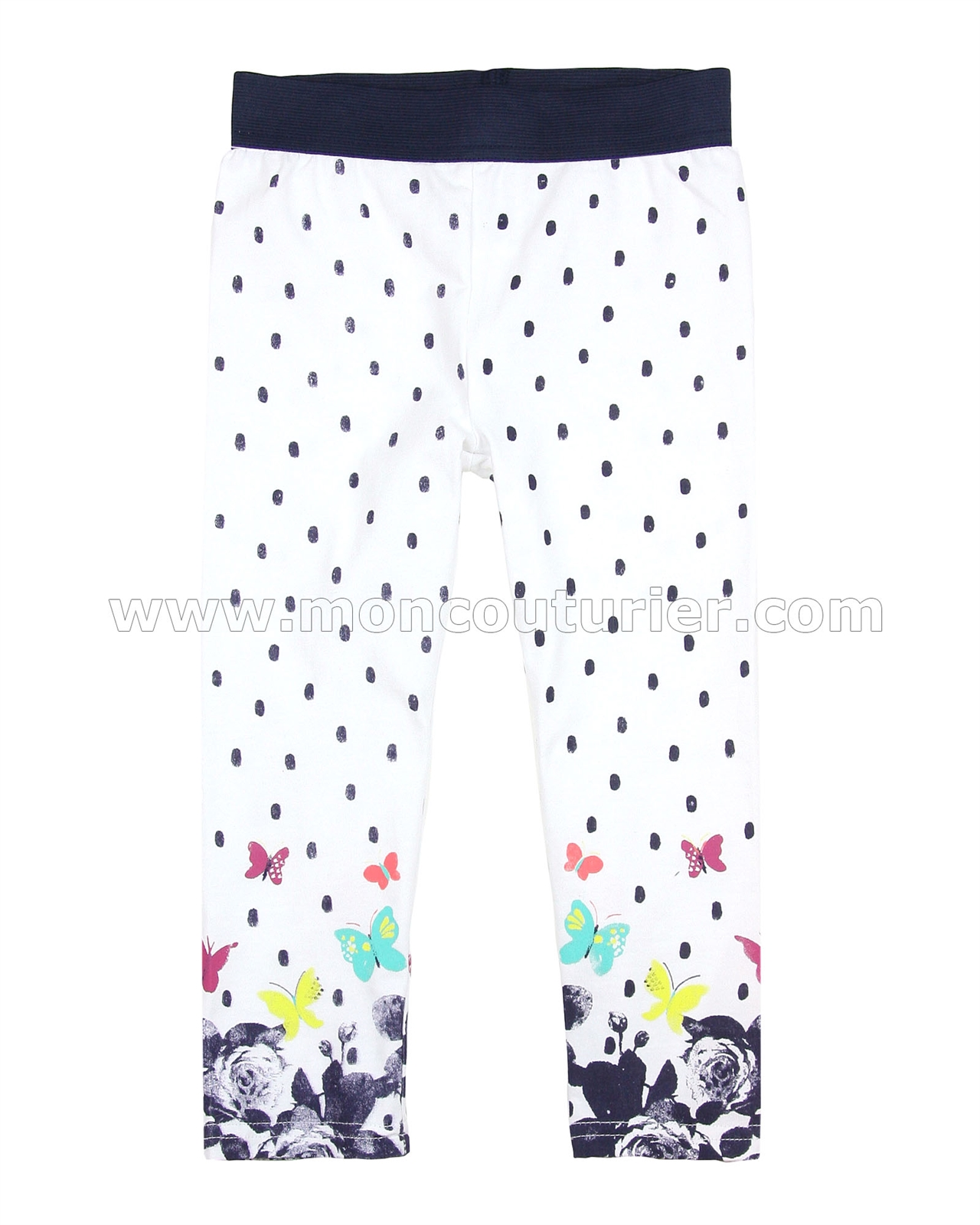 Sizes 3-12 Deux par Deux Girls Polka Dot Leggings Ocean Ballad