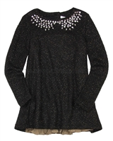 Deux par Deux Black Tunic with Plisse Starmania
