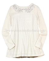 Deux par Deux Ivory Tunic with Plisse Starmania