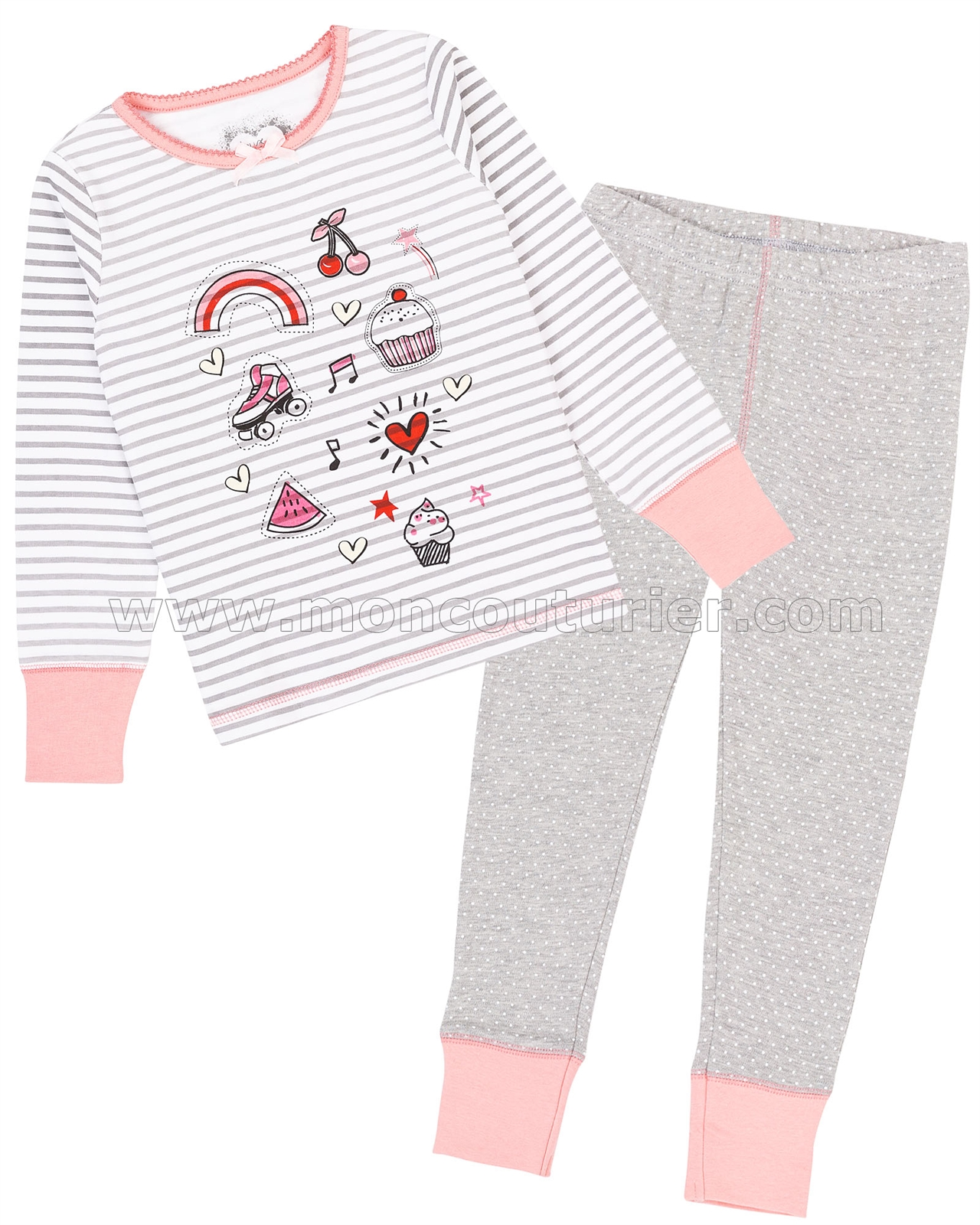 Deux par Deux Girls/' Stripe and Dots Pants Pyjamas Set Sizes 2-12