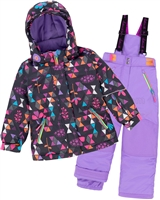 Deux par Deux Girls' 2-Piece Snowsuit Confetti Garden Purple
