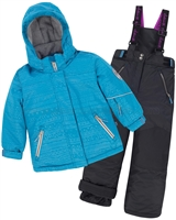 Deux par Deux Girls' 2-Piece Snowsuit I Have a Crush Anthracite