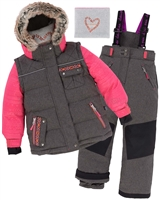 Deux par Deux Girls' 2-Piece Snowsuit Friendship Forever Charcoal