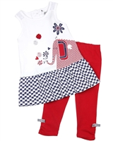 Deux par Deux White Tunic and Leggings Set Red Orchid