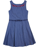 Deux par Deux Polka Dot Chambray Dress Red Orchid