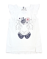 Deux par Deux White Top with Frills Red Orchid