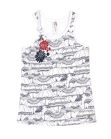 Deux par Deux White Tank Top Red Orchid
