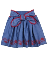 Deux par Deux Chambray Skirt Red Orchid