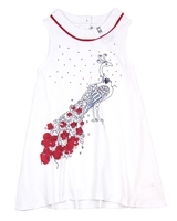 Deux par Deux White Tunic Red Orchid