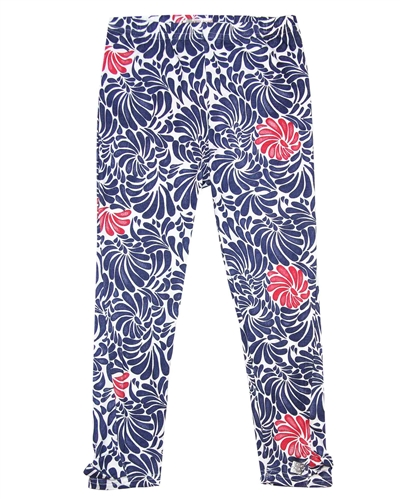 Deux par Deux Printed 3/4 Leggings Red Orchid