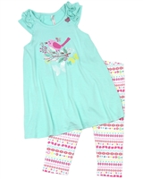 Deux par Deux White Tunic and Leggings Set Miss Butterfly