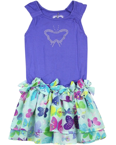 Deux par Deux Printed Dress with Bows Miss Butterfly