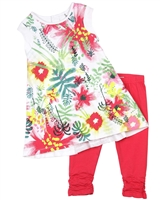 Deux par Deux Tunic and Leggings Set Flamingo Edit