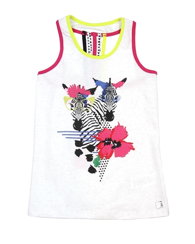 Deux par Deux Tank Top with Zebra Print So Safari