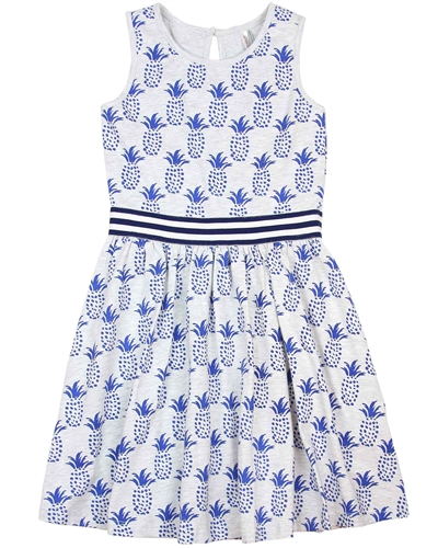 Deux par Deux Pineapple Print Dress Cold Press Fashion