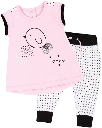 Deux par Deux Pink Tunic and Pants Whole Wheat Baby