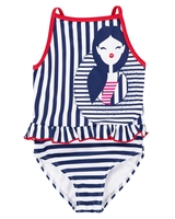 Deux par Deux Striped Swimsuit Playa Del Mar