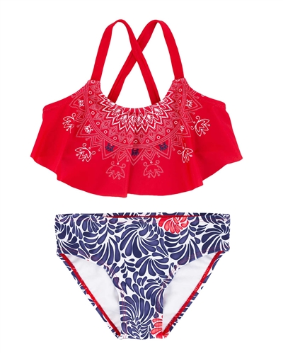 Deux par Deux Flare Top Swimsuit Playa Del Mar