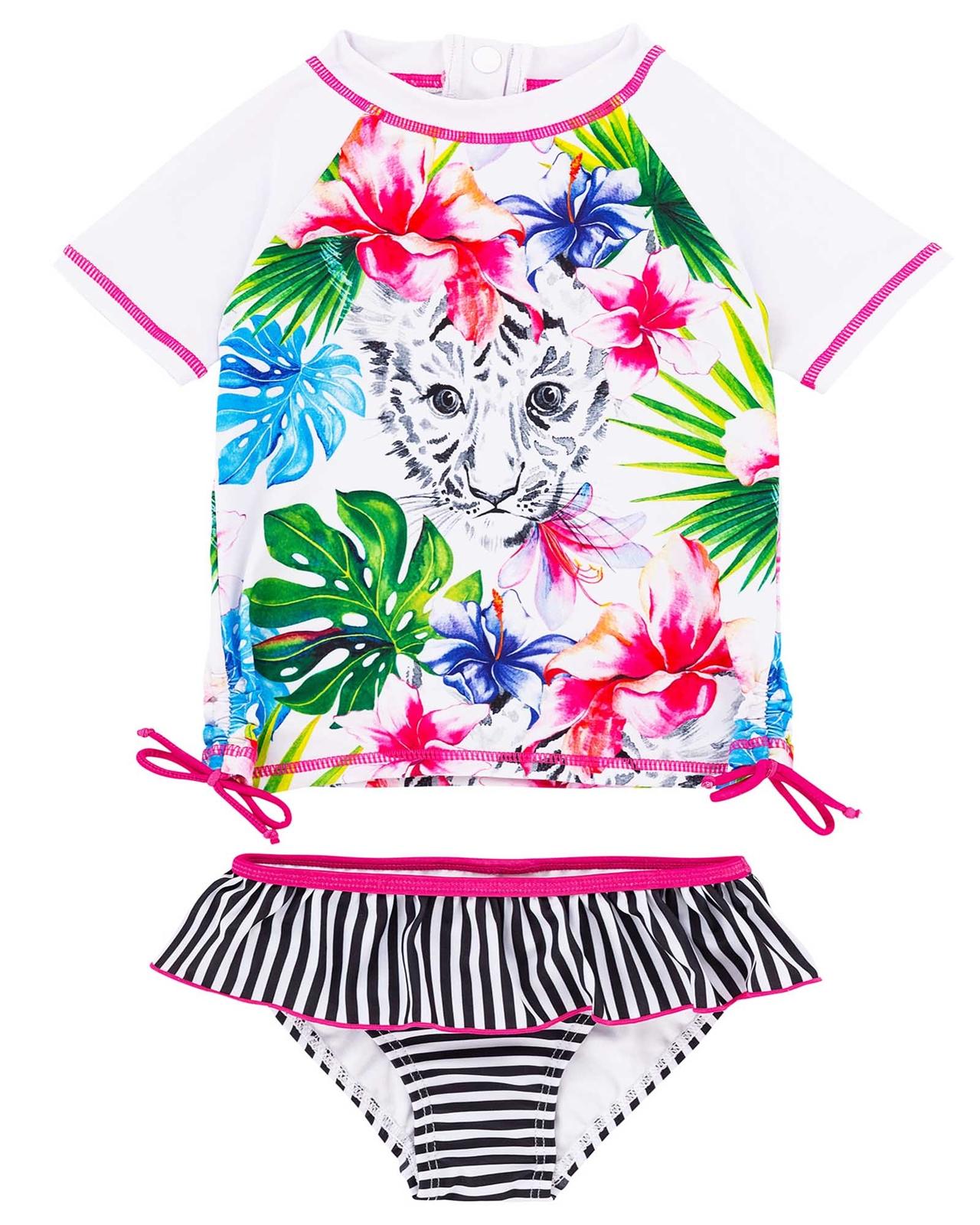 Deux par Deux Girls/' Tropical Print Swimsuit Playa Del Mar Sizes 4-12
