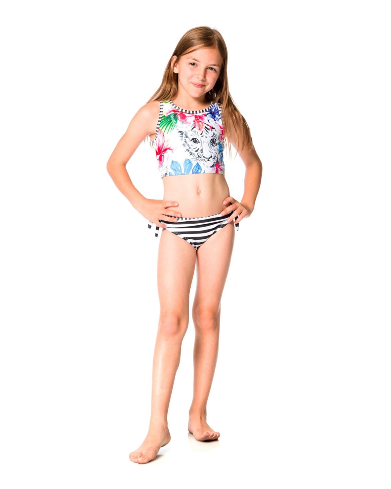 Deux par Deux Girls/' Striped Swimsuit Playa Del Mar Sizes 4-12