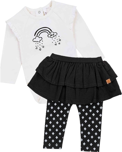 Deux par Deux Baby Girls' White Bodysuit and Skirted Leggings Set Unicorns and Dinos