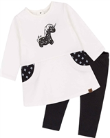 Deux par Deux Baby Girls' White Tunic and Leggings Set Unicorns and Dinos