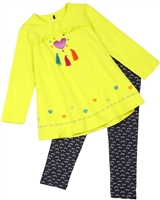 Deux par Deux Yellow Tunic and Leggings Set Owl You Need is Love