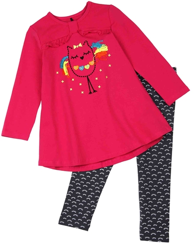f8705a9c5cfd Deux par Deux Fuchsia Tunic and Leggings Set Owl You Need is Love