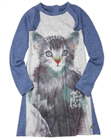 Deux par Deux Brushed Jersey Dress A Cat in a Hat