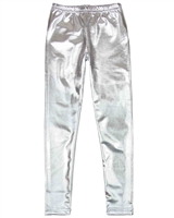 Deux par Deux Shiny Leggings in Silver Black and White