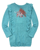 Deux par Deux Long Knit Tunic in Teal Unicorns are Real
