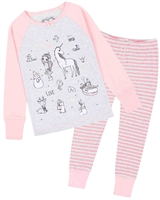 Deux par Deux Pyjamas Set with Unicorns Print