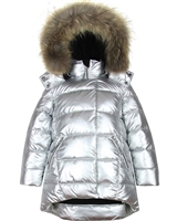 Deux par Deux Puffer Coat with Real Fur in Silver