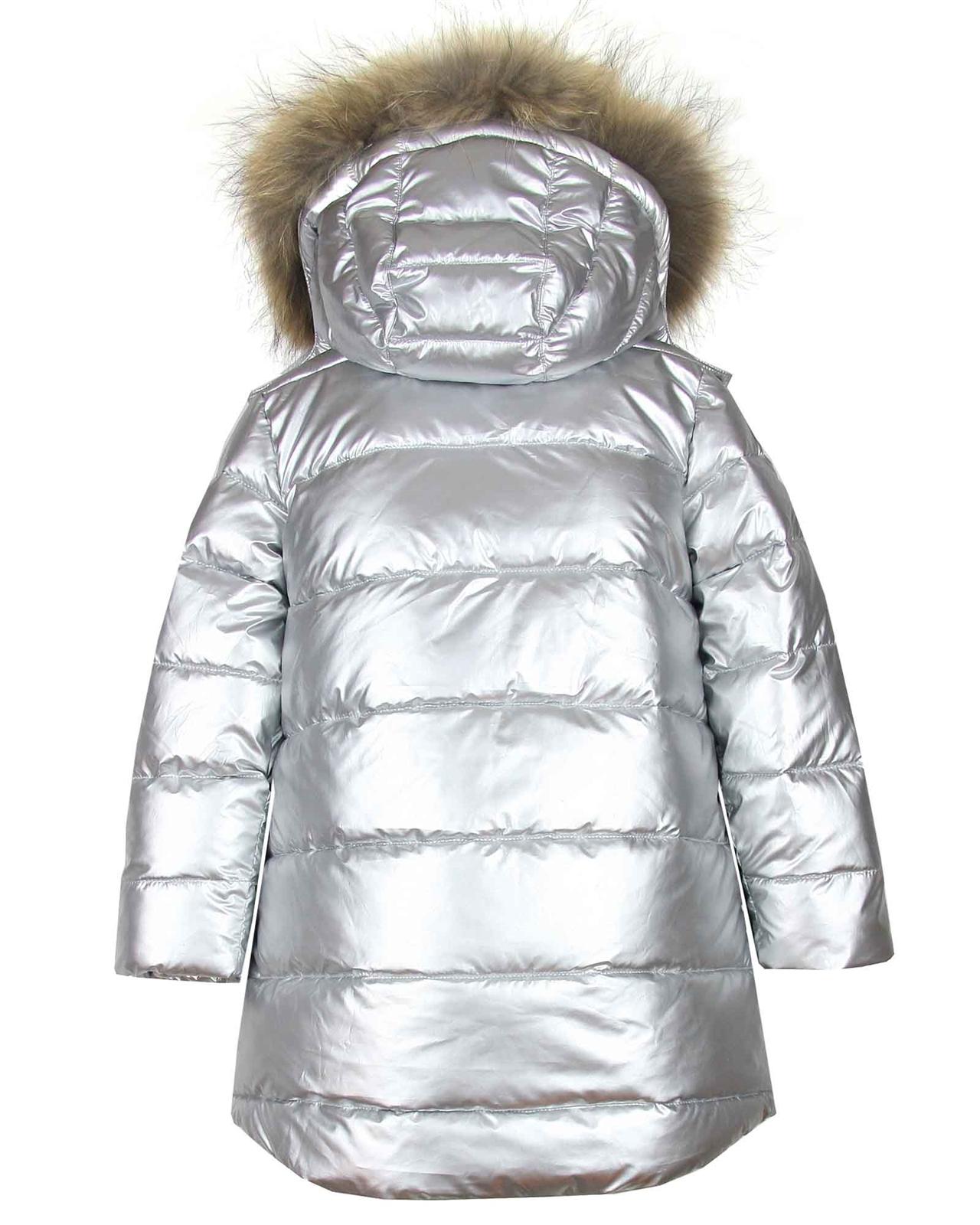 7223326b Deux par Deux Puffer Coat with Real Fur in Silver
