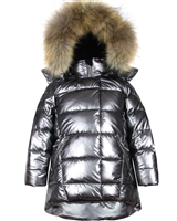 Deux par Deux Puffer Coat with Real Fur in Dark Gray
