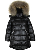 Deux par Deux Puffer Coat with Real Fur in Black