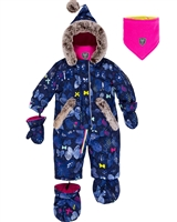Deux par Deux Baby Girl 1-Piece Snowsuit Frosted Butterfly