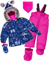 Deux par Deux Little Girls' 2-Piece Snowsuit Frosted Butterfly