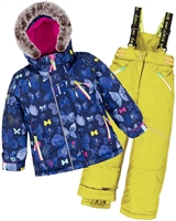 Deux par Deux Girls' 2-Piece Snowsuit Frosted Butterfly Yellow