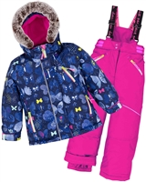 Deux par Deux Girls' 2-Piece Snowsuit Frosted Butterfly Fuchsia