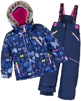 Deux par Deux Girls' 2-Piece Snowsuit Frosted Butterfly Navy
