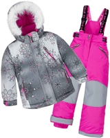 Deux par Deux Girls' 2-Piece Snowsuit Princes Below Zero Fuchsia