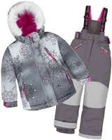 Deux par Deux Girls' 2-Piece Snowsuit Princes Below Zero Gray