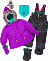 Deux par Deux Little Girls' 2-Piece Snowsuit Cat Eyes and Pretty Face