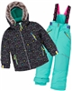 Deux par Deux Girls' 2-Piece Snowsuit Cat Eyes and Pretty Face Green