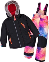 Deux par Deux Girls' 2-Piece Snowsuit Kaleidoscope Unicorn