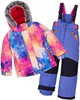 Deux par Deux Girls' 2-Piece Snowsuit Kaleidoscope Unicorn Violet