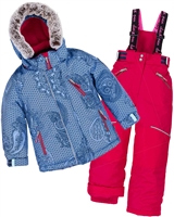 Deux par Deux Girls' 2-Piece Snowsuit Fanny Mandalas Red